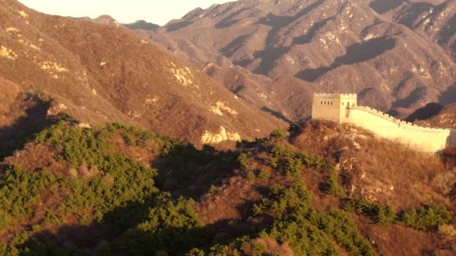 aerial view of famous badaling great wall - badaling stock videos and b-roll footage