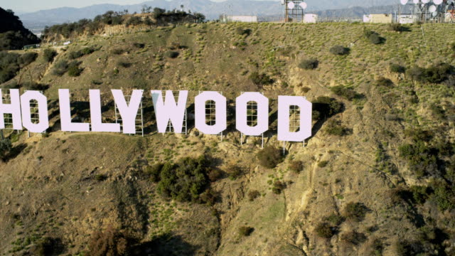 Aerial view of famous Hollywood sign Los Angeles