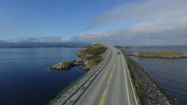 aerial view of famous scenic highway, atlantic road - coastal feature stock videos & royalty-free footage