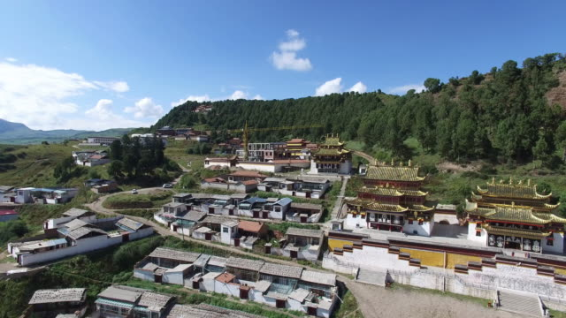Aerial View of Famous Tibetan Monastery-Langmu Temple In Western China