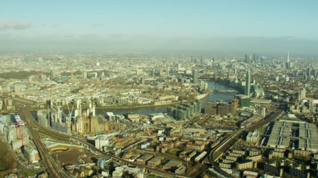 aerial view of famous tourism sights london uk - battersea stock videos & royalty-free footage
