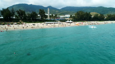 aerial view of famous yalong bay in sanya in hainan province, china - bay of water stock videos & royalty-free footage