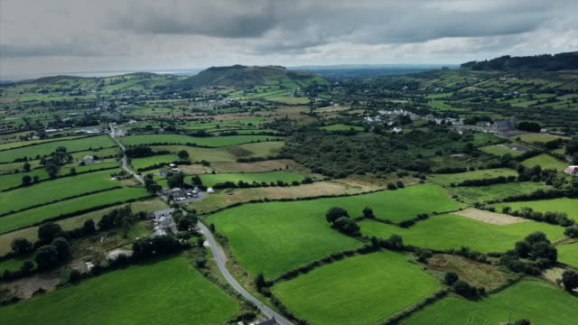 aerial view of farmland in omagh - field stock videos & royalty-free footage