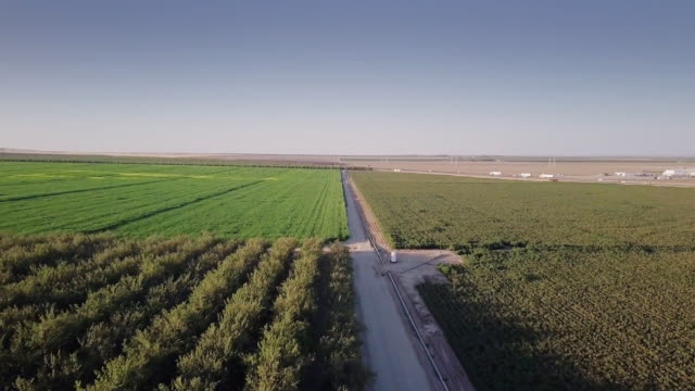 4K Aerial View of Farmland in San Joaquin Valley with I-5
