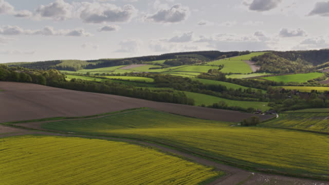 Aerial View of Farmland in West Sussex in Spring