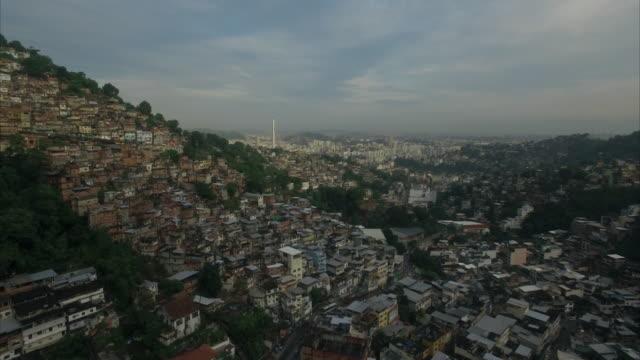 aerial view of favela rio de janeiro brazil - favela stock videos and b-roll footage