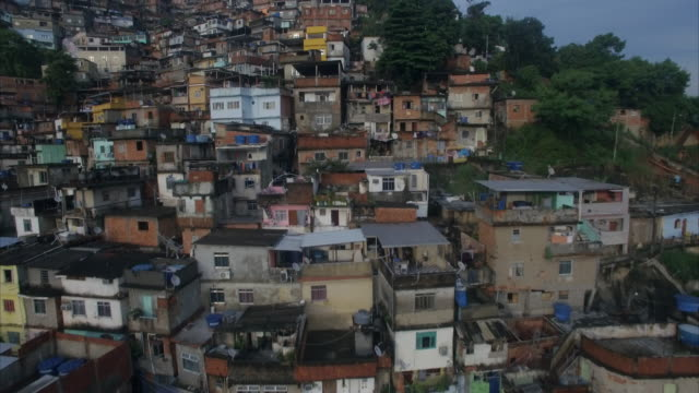 aerial view of favela rio de janeiro brazil - bassifondi video stock e b–roll