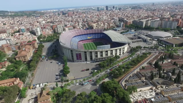aerial view of fc barcelona camp nou stadium - barcelona stock-videos und b-roll-filmmaterial