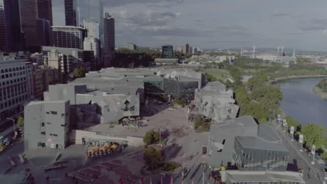 Aerial view of Federation Square. Melbourne Australia