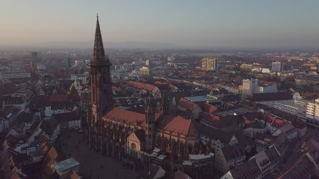 aerial view of feiburg, germany - twilight stock videos & royalty-free footage