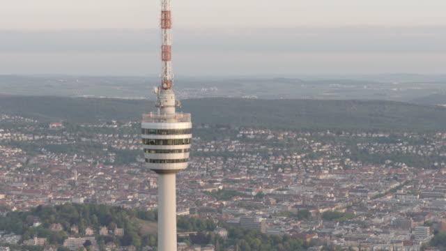 aerial view of fernsehturm stuttgart tower, germany - バーデン・ビュルテンベルク州点の映像素材/bロール