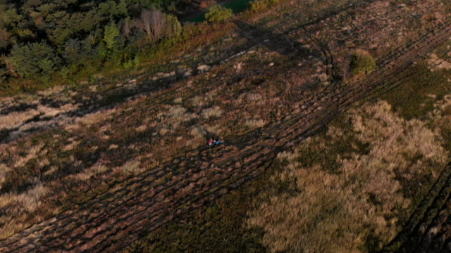 vídeos de stock, filmes e b-roll de vista aérea do campo e trator cortador ao nascer do sol em 4k - bulgária