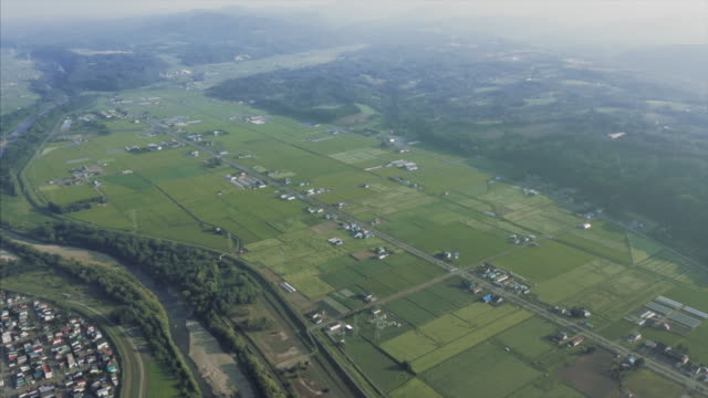 aerial view of fields in asahikawa - asahikawa stock videos & royalty-free footage