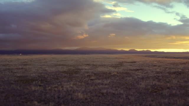 Aerial view of fields in desert landscape
