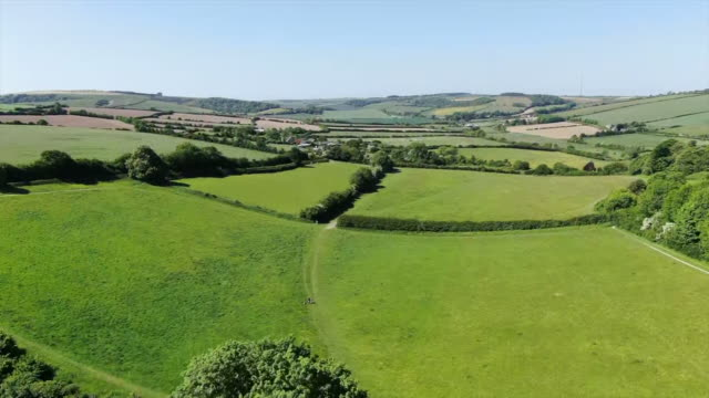 aerial view of fields on the isle of wight - farm stock videos & royalty-free footage