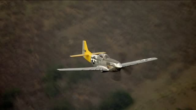 KTLA Aerial View of Fighter Plane P51 Mustang