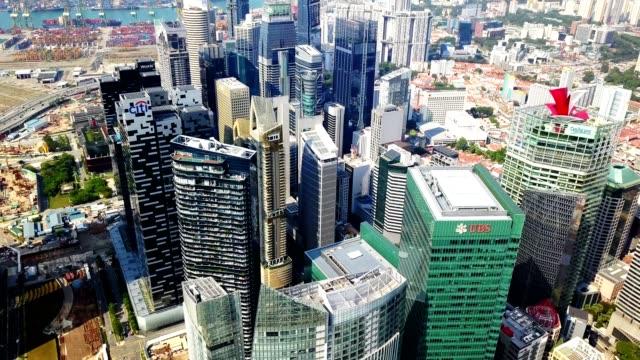 シンガポールの金融街建物の空撮 - シンガポール点の映像素材/bロール