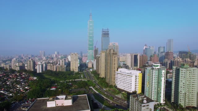 4k aerial view of financial district in city of taipei, taiwan - taiwan stock videos and b-roll footage