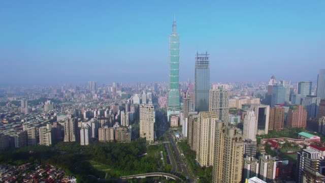 4k aerial view of financial district in city of taipei, taiwan - taipei 101 stock videos & royalty-free footage