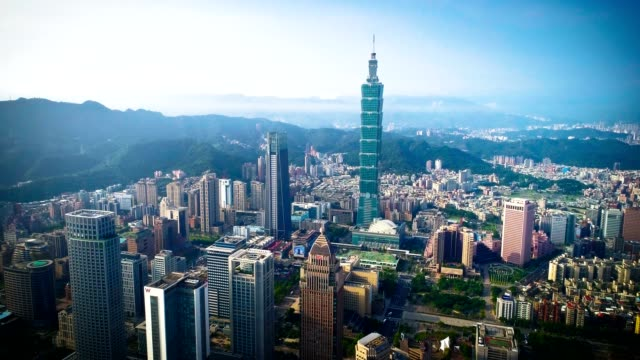 aerial view of financial district in city of taipei, taiwan - taiwan stock videos and b-roll footage