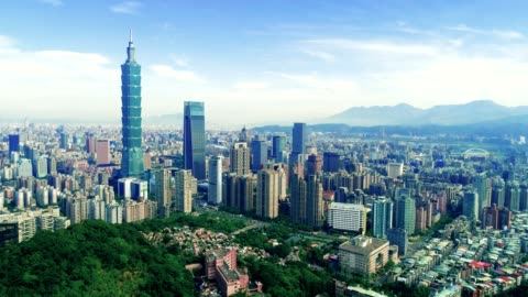 aerial view of financial district in city of taipei, taiwan - taipei stock videos & royalty-free footage