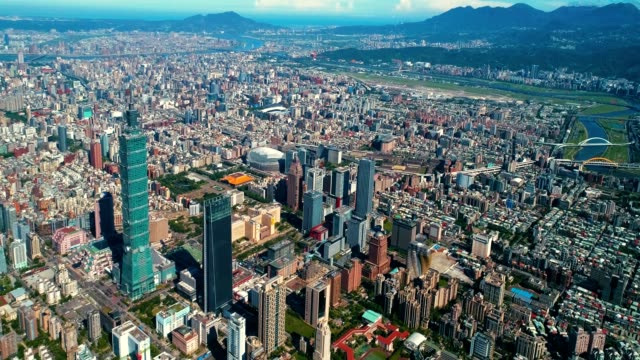aerial view of financial district in city of taipei, taiwan - taipei 101 stock videos & royalty-free footage
