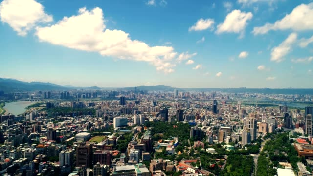 Aerial view of financial district in city of Taipei, Taiwan