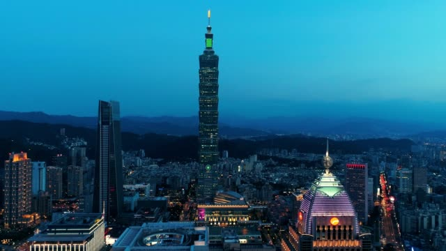 aerial view of financial district in taipei at dusk, taiwan - taipei stock videos & royalty-free footage