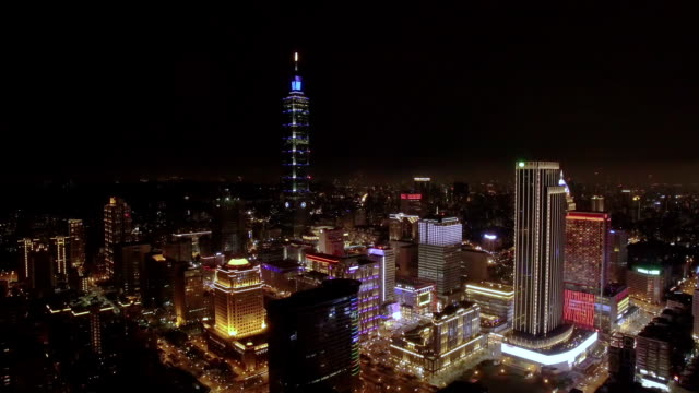 Aerial view of Financial district in Taipei at night, Taiwan