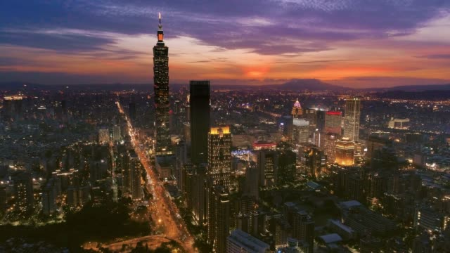aerial view of financial district in taipei at night, taiwan - taipei 101 stock videos & royalty-free footage