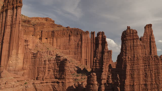 aerial view of fisher towers rock formation / moab, utah, united states - moab utah stock videos & royalty-free footage