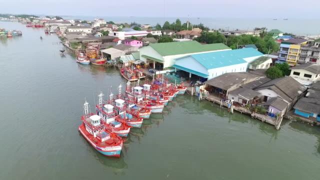 Aerial view of Fisherman village in Thailand