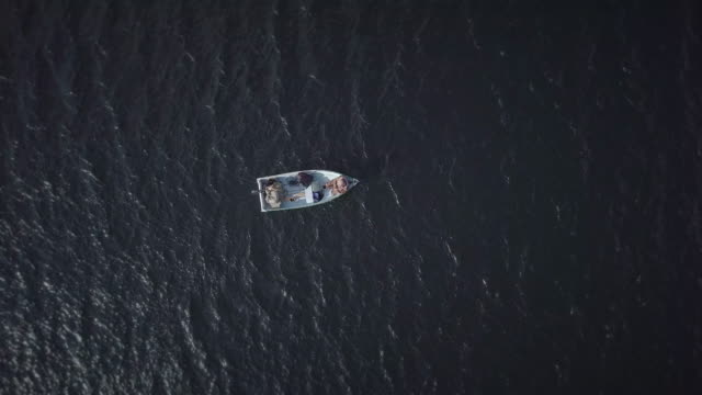 aerial view of fishermans fishing from a boat - rod stock videos and b-roll footage