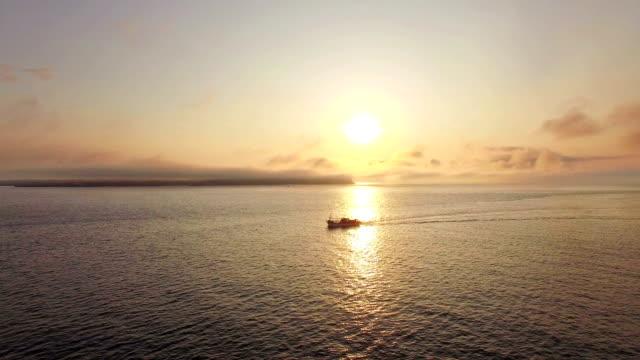 Aerial view of Fishing boat in the sea near Seongsan Harbor