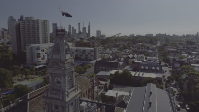 aerial view of fitzroy town hall, melbourne victoria australia - australian politics stock videos & royalty-free footage
