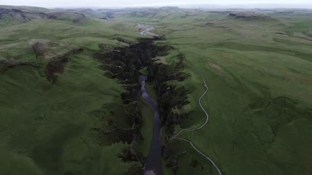 aerial view of fjadrargljufur canyon - ravine stock videos & royalty-free footage