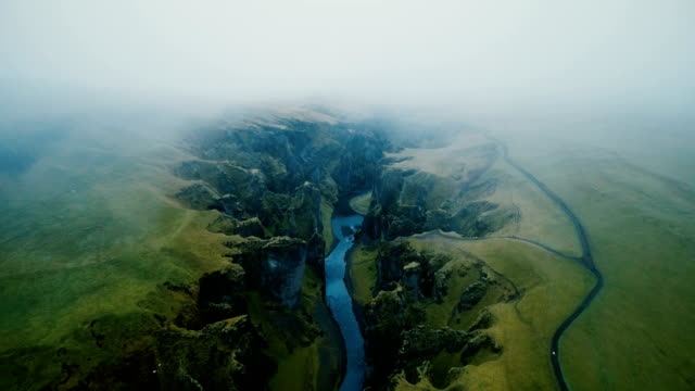 aerial view of  fjaðrárgljúfur canyon - iceland stock videos & royalty-free footage