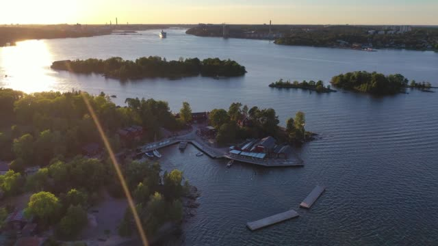 aerial view of fjäderholmarna - stockholm stock videos & royalty-free footage