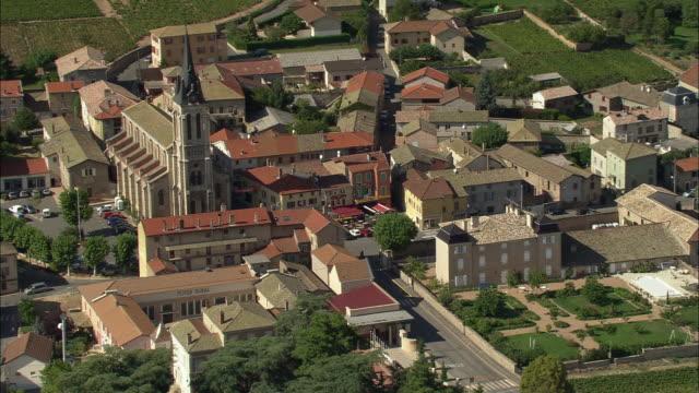 ws pan aerial view of fleurie, rhone-alpes, france - rhone alpes stock videos & royalty-free footage