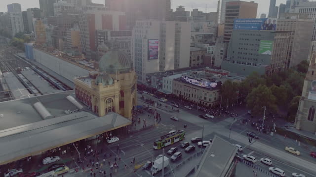 aerial view of flinders street station. melbourne australia - public building stock videos and b-roll footage