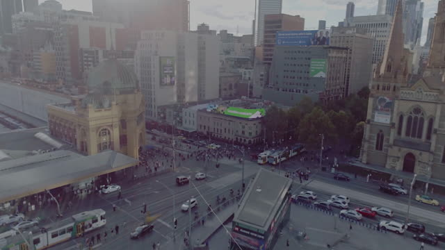 Aerial view of Flinders Street Station. Melbourne Australia