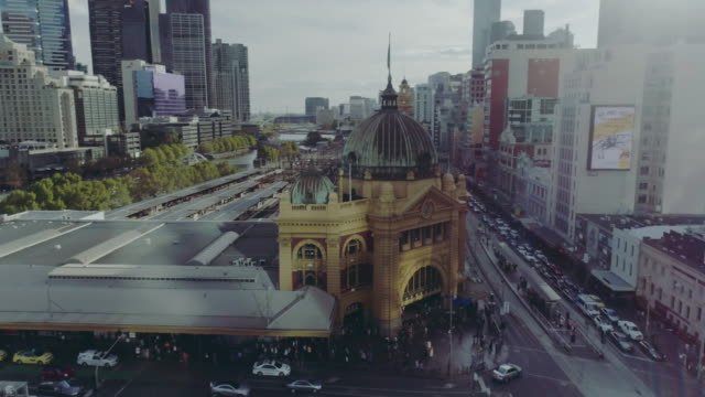 aerial view of flinders street station. melbourne australia - australia stock videos & royalty-free footage