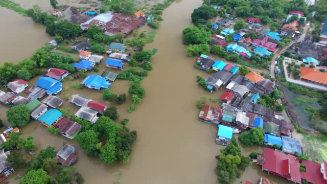 aerial view of flood in ayutthaya province,thailand. - flood stock videos & royalty-free footage