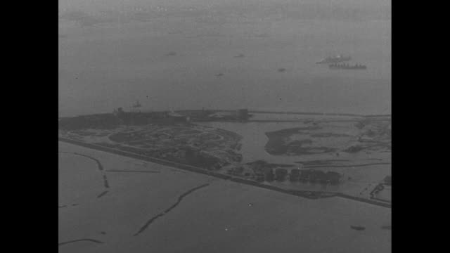 aerial view of flooded landscape on shore of north sea / note: exact month/day not known - north sea stock videos & royalty-free footage