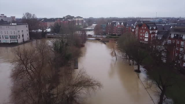 aerial view of flooding caused by storm bella - ruined stock videos & royalty-free footage