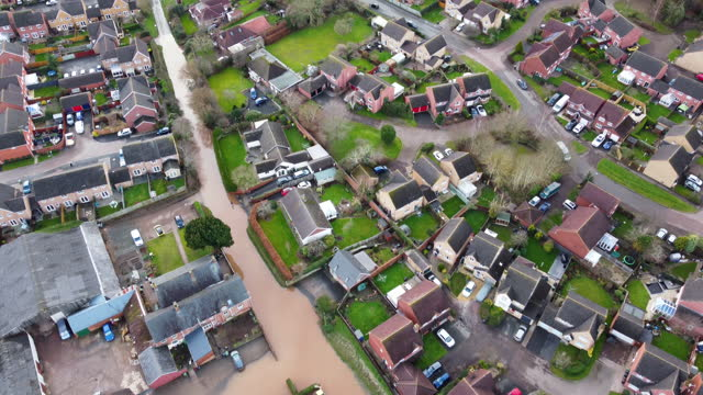 aerial view of flooding in an residential area on january 22,2021 in hereford, england. heavy rainfall coupled with rapid snow melt causes the river... - district stock videos & royalty-free footage