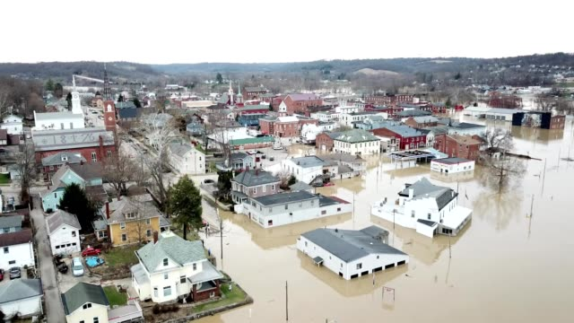 aerial view of flooding of the ohio river in aurora indiana - flood stock videos & royalty-free footage