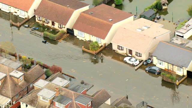aerial view of floodwater damage river thames uk - flood stock videos & royalty-free footage