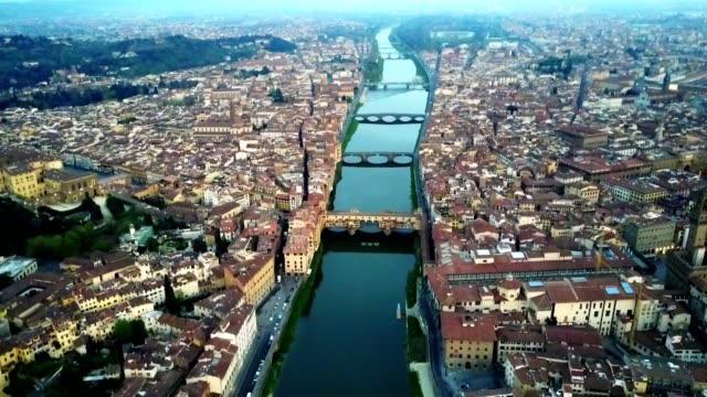 aerial view of florence city in the early morning - florence italy stock videos & royalty-free footage