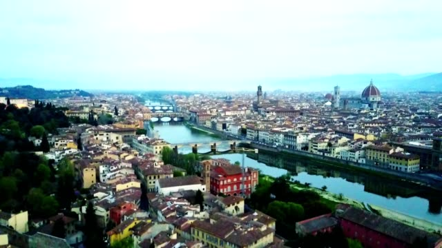 aerial view of florence city in the early morning - antico condizione video stock e b–roll